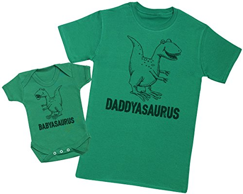 Daddysaurus & Babysaurus - Matching Father Baby Gift Set - Mens T Shirt & Baby Bodysuit - Green - X-Large & 6-12 Months from Zarlivia Clothing