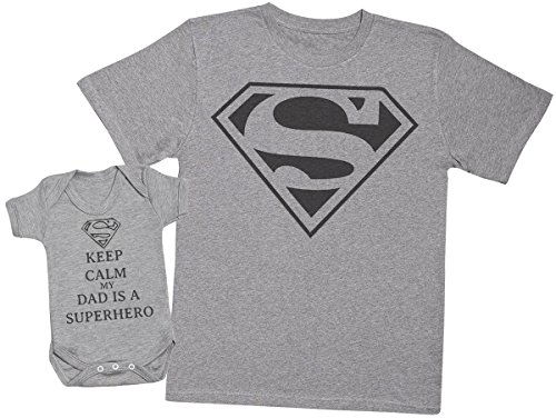 Keep Calm Dad is A Super Hero - Matching Father Baby Gift Set - Mens T Shirt & Baby Bodysuit - Grey - Medium & 0-3 Months from Zarlivia Clothing