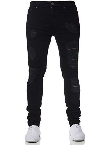 364a21db2 New Mens Enzo Super Stretch Skinny Jeans Ripped Distressed Designer Black  40 W X 32 R from