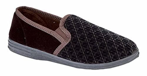 3f8af26ceb730 Mens New Boxed Slip On Velour Twin Gusset Slippers Shoes Size 6-16 - Brown