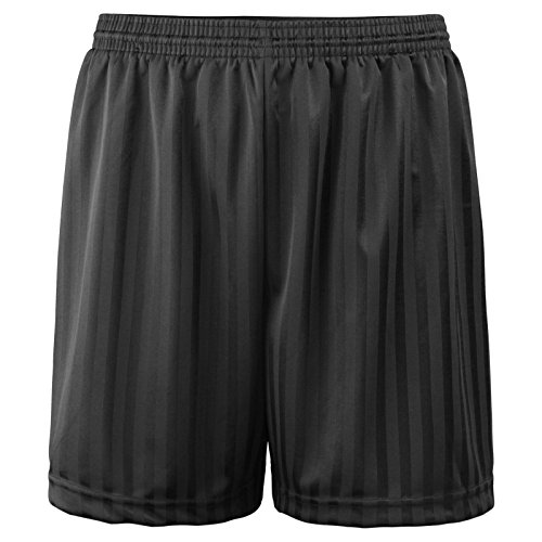 Unisex PE Shorts Adults Boys Girls Kids Children Back to School Uniform Shadow Stripe Sports Gym Football Games P.E. Shorts (Black, 9-10) from Zeetaq