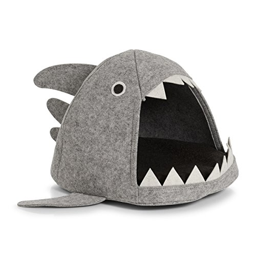 Zeller 14374 Shark Felt Cat Basket, Cat Basket, Felt, Grey, 45 x 38 x 32 cm from Zeller