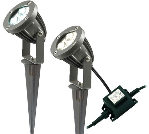 Set of 3 LED Garden Spike Kit 12v 3w LED per Spike Easy Install Adjustable LED Spike Warm White from Long Life Lamp Company
