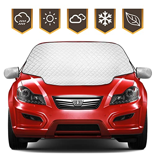 Zenoplige Car Windscreen Frost Cover Snow Magnetic Cover Windshield Sun Protector Waterproof Dust Cover and Ice Protector in All Weather Car Cover with Two Mirror Covers(147×120cm) from Zenoplige