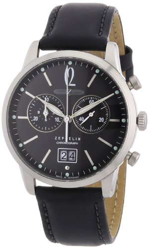 Zeppelin Men's Flatline Chronograph Watch 73862 with Black Dial and Strap from Zeppelin