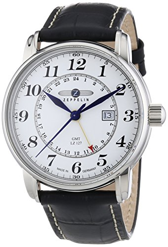 Zeppelin Second Time Zone GMT Black Leather Strap Watch With Date Function from Zeppelin