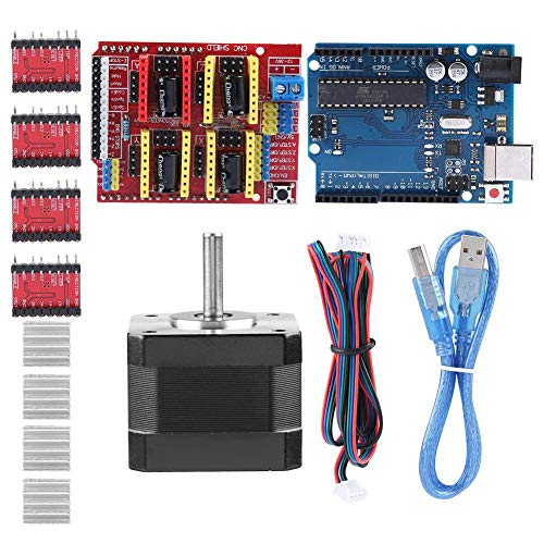 3D Printer Kits CNC Shield V3.0 + R3 Board + Nema 17 Stepper Motor + 4PCS A4988 Driver + Stepper Motor Controller Shield Kit with Heat Sink for Quimat Arduino from Zerone