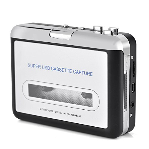 Portable Audio Cassette Converter, USB Cassette Tape to MP3 Cassette Capture Recorder with CD Headphones from Zerone