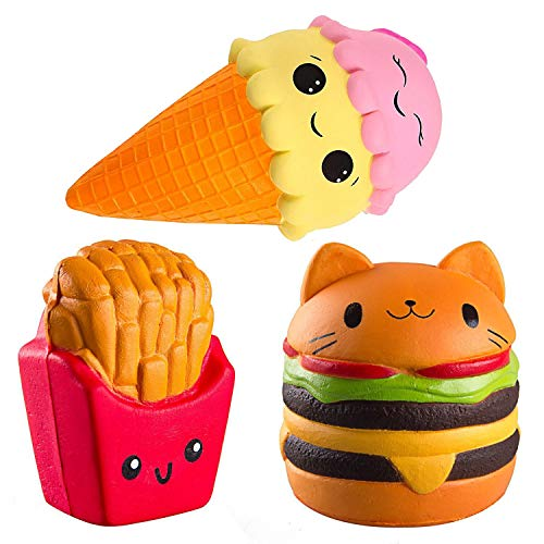 ZhengYue 3PCS Squishy Toys - Slow Rising Scented Jumbo Squishies Squeeze Stress Reliever Soft Toy Best Gift for Girls Boys (Fries + Burger + Ice Cream) from ZhengYue