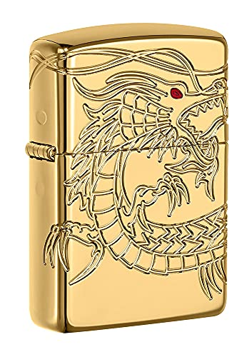 Zippo Armor Chinese Dragon Windproof Pocket Lighter - High Polish Gold Plate from Zippo