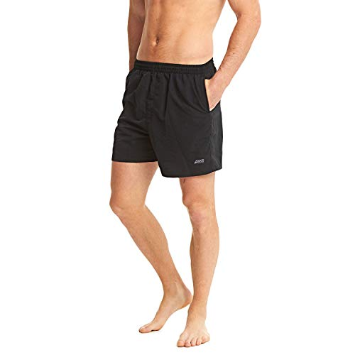 """Zoggs Junior Boy/'s Muriwai Swimming Shorts Black Blue Small//17/"""" 100/% Polyester"""