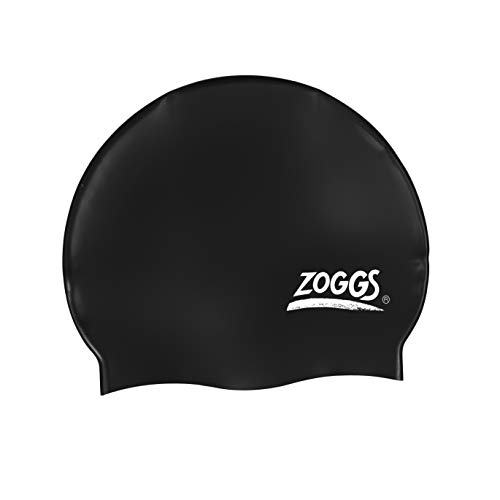 Zoggs Adult Silicone Swimming Cap with Embossed Non-Slip Inner Surface, Black, One Size from Zoggs