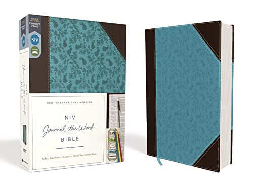 NIV, Journal the Word Bible, Imitation Leather, Brown/Blue, Red Letter Edition, Comfort Print: Reflect, Take Notes, or Create Art Next to Your Favorite Verses from Zondervan