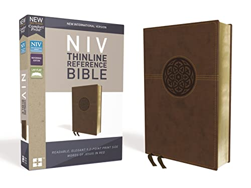 NIV, Thinline Reference Bible, Imitation Leather, Brown, Red Letter Edition, Comfort Print from Zondervan