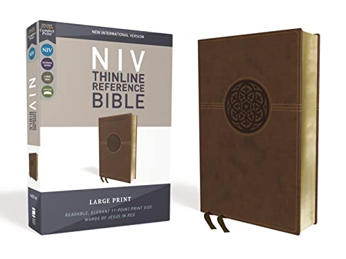 NIV, Thinline Reference Bible, Large Print, Imitation Leather, Brown, Red Letter Edition, Comfort Print from Zondervan