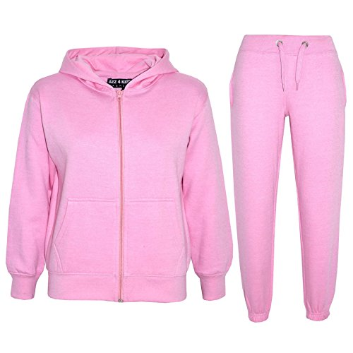 a2z4kids Kids Girls Boys Plain Tracksuit - Baby Pink - 7-8 Years from a2z4kids