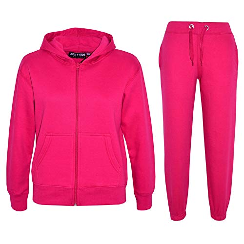 a2z4kids Kids Girls Boys Plain Tracksuit - Pink - 11-12 Years from a2z4kids