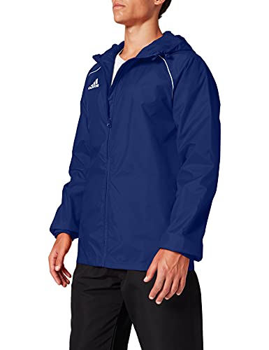 adidas Men's Core 18 Rain Jacket, Dark Blue/White, Large from adidas