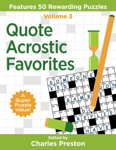 Quote Acrostic Favorites: Features 50 Rewarding Puzzles: Volume 3 (Puzzle Books for Fun) from aka Associates