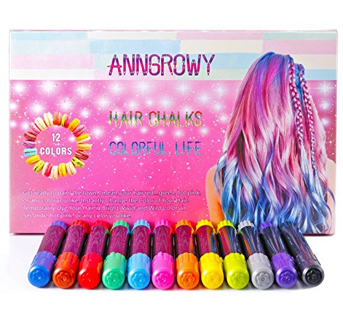 Hair Chalk for Kids Girls Temporary Hair Chalks Colour Set Prime Hair Chalk Pens Perfect Birthday Present Gifts for Girls, Boys, Women and Men Washable Instant Hair Dye for Blonde Brown Auburn and Dark Hair Color Treatment from anngrowy