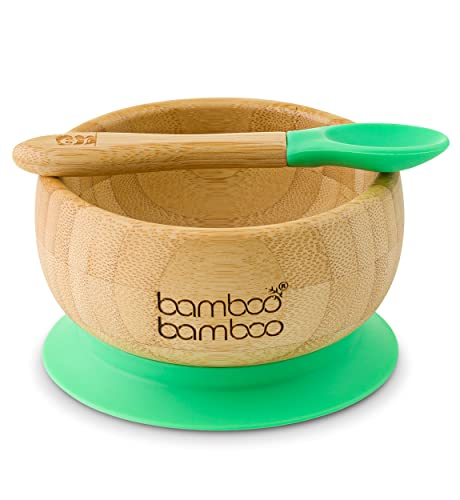 Baby Suction Bowl and Matching Spoon Set, Suction Stay Put Feeding Bowl, Natural Bamboo (Green) from bamboo bamboo