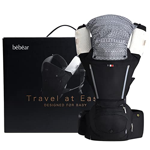 Bebamour Baby Carrier Hip Seat 6 in 1 Clasical Baby Carrier Backpack 0-36 Months with 3PCS Baby Drool Bibs, Convertible Baby Carrier (Black) from bebear