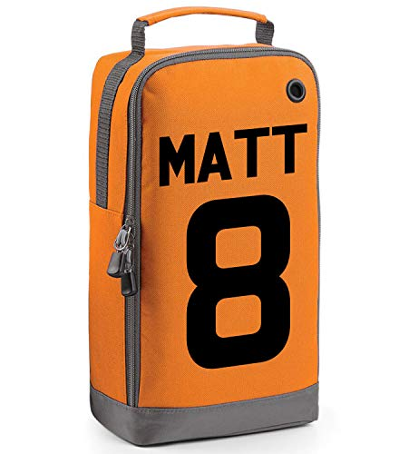 beyondsome Children's Personalised Football Name & Number Boot Bag (Orange/Black Print) from beyondsome