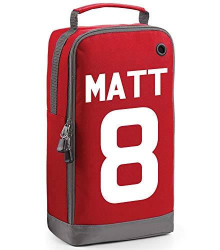 beyondsome Children's Personalised Football Name & Number Boot Bag (Red/White Print) from beyondsome