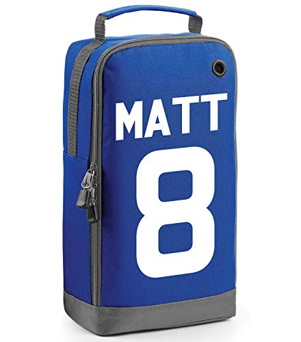 beyondsome Children's Personalised Football Name & Number Boot Bag (Royal Blue/White Print) from beyondsome