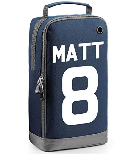 beyondsome Children's Personalised Football Name & Number Boot Bag (Navy/White Prnt) from beyondsome