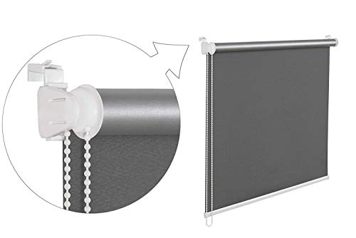 beytug Grey Thermal Blackout Window Roller Blind Available in 16 Width Sizes, 120cm wide (plus 4.5cm fittings) from beytug