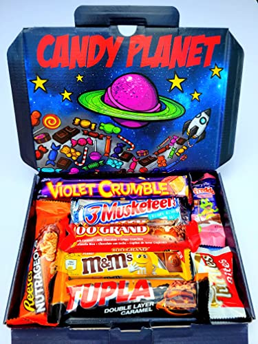 International World Chocolate Bar Selection Box | American Candy Australian Lolly Kiwi New Zealand Sweets | Peppermint Crisp Violet Crumble Black Forest Baby Ruth | Hamper Exclusive to CANDYPLANET from candyplanet