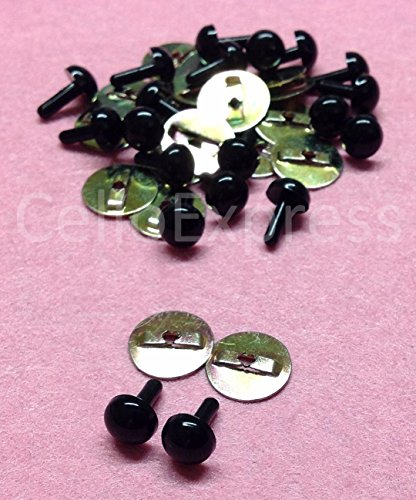Pack of 10 Pairs - Solid Black Eyes with Metal Backs - 5mm - Safety Eyes for Soft Toy or Teddy Bear Making from celloexpress