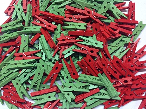 Pack of 100-25mm Mini Wooden Craft Pegs - Red & Green from celloexpress