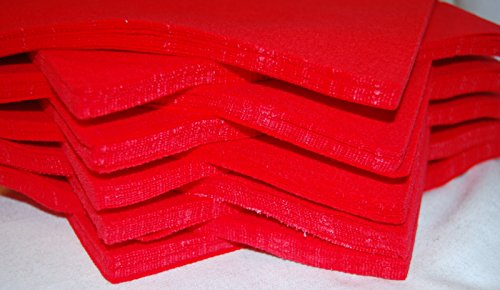 "celloexpress Pack of 2 Sheets - RED - 100% Acrylic Craft Felt 9"" Squares for Crafting, and Soft Toy Making from celloexpress"