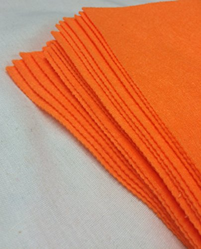 "celloexpress Pack of 2 Sheets - SUPER BRIGHT ORANGE - 100% Acrylic Craft Felt 9"" Squares for Crafting, and Soft Toy Making from celloexpress"