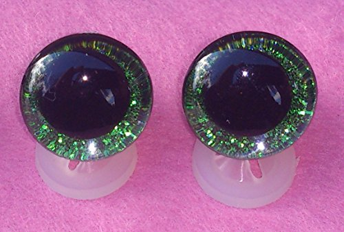 celloexpress Pack of 3 Pairs - 3D Green Glitter Sparkle Eyes with Plastic Backs - 30mm - Safety Glitter Sparkle Eyes for Soft Toy or Teddy Bear Making from celloexpress