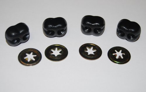 celloexpress Pack of 4 - Black Animal Noses 20mm Metal Backs - Teddy Bear & Soft Toy Making Detailed Noses from celloexpress