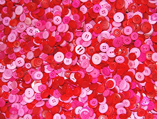 celloexpress Pack of 50g - RED & PINK BUTTONS - Mixed Sizes of Various Pink & Red Valentines Buttons for Sewing and Crafting from celloexpress