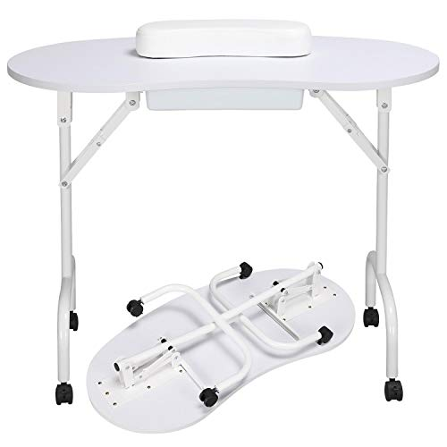 Tinxs White Professional Portable Manicure/Nail/Beauty Mobile Nail Table Folding Desk W/Carry Bag & Wrist Rest & Pull Out Drawer from chinkyboo