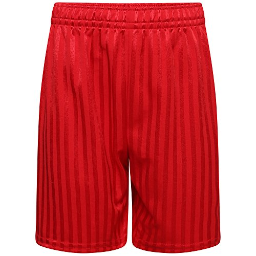 clicktostyle Unisex Red PE School Shadow Stripe PE Shorts Boys Girls Adult Football Gym Sports Short (Medium) from clicktostyle