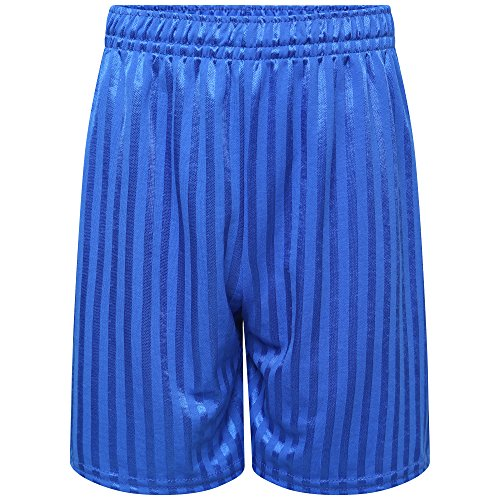 clicktostyle Unisex Royal Blue PE School Shadow Stripe PE Shorts Boys Girls Adult Football Gym Sports Short (7-8 Years) from clicktostyle