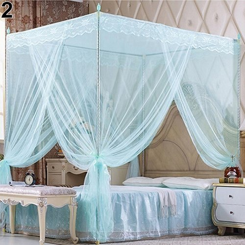 collectsound 1Pc Three Side Openings No Frame Mosquito Net Romantic Princess Lace Canopy Mosquito Net No Frame for Twin Full Bed Blue Full from collectsound
