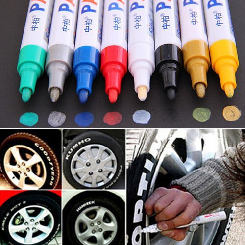 collectsound Waterproof Permanent Paint Marker Pen - 12 Colors Car Tyre Tire Tread Rubber Metal Non-Toxic Car Touch Up Pen Purple from collectsound
