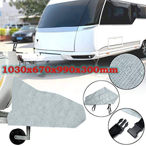 dDanke Waterproof Anti UV Rain Snow Dust Protector 1030x670x990x300mm Grey Caravan Trailer Towing Hitch Cover with Straps for Trailer from dDanke