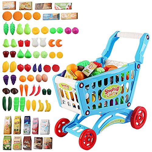 deAO Children Shopping Cart Trolley Play Set Includes 78 Grocery Food Fruit Vegetables Shop Accessories (BLUE) from deAO
