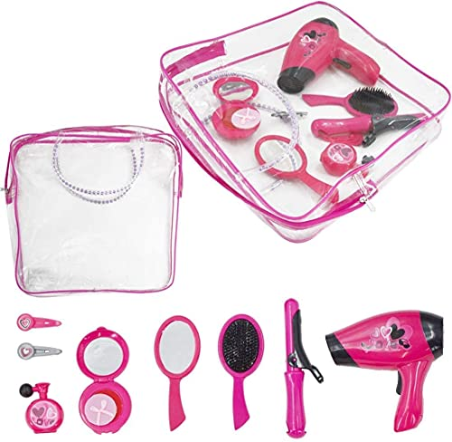 deAO Hairdressing and Vanity Handbag Beauty Set Girls Styling Pretend Makeup and Hair Accessories Playset Including Hairdryer Toy and Curlers from deAO