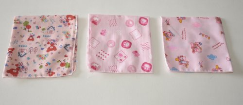 Handkerchiefs - pack of 3 trendy pink trendy friendly animals , cute and colourful from deal from home