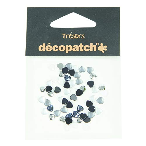 décopatch 'Trésors' Plastic Gems - Black/White Hearts, Pack of 60 from Décopatch