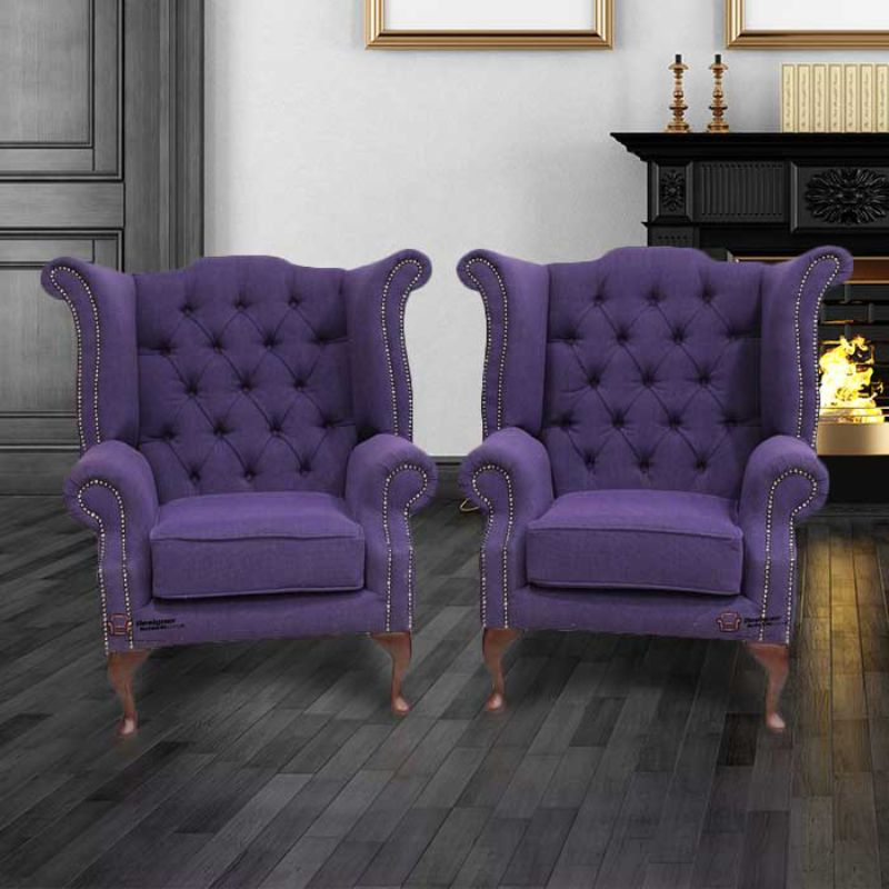 2 x Chesterfield Purple Queen Anne High Back Wing Chairs Verity from designersofas4u